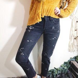 LEVIS • RARE Aztec Embroidered Raw Hem Jeans